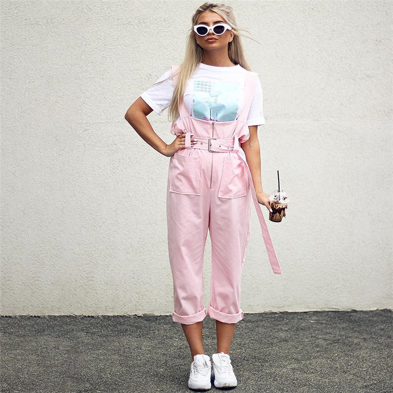 Fashion 2018 Women Pink Zipper Straps Jumpsuit Casual Sashes Wide Leg Playsuit Loose Sleeveless Overall Romper in Jumpsuits from Women 39 s Clothing