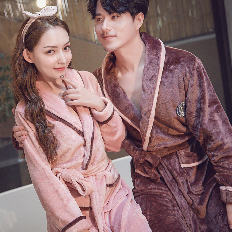 CEARPION Flannel Solid Color Men Winter Robe Casual Long Sleeve Robes Male Coral Fleece Kimono Bathrobe Gown Sexy Nightgown