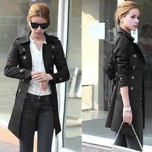 Mujer 2019 primavera y otoño moda marca Corea estilo Vintage Trenca larga suelta mujer Casual caqui negro gabardina tela # J30