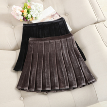 MUMUZI high waist pleated skirt female autumn and
