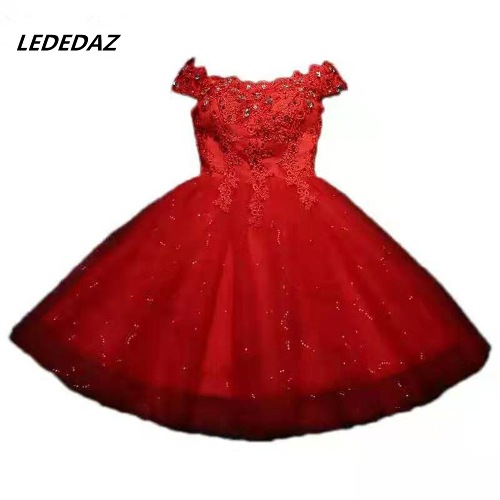 Sexy Off The Shoulder Prom Dress Lace Up Short Red / White Bridesmaid Dresses With Sequins Beading & Appliques Vestido De Gala