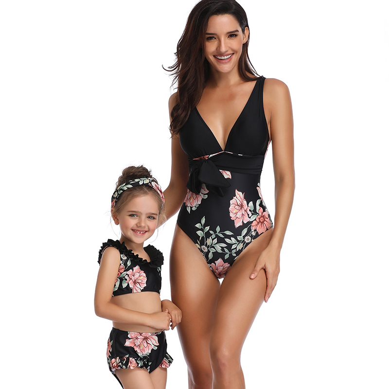 Семейный женский купальник бикини, купальник для девочек с шортами, купальник с цветочным принтом, детская пляжная одежда, купальные костюм...