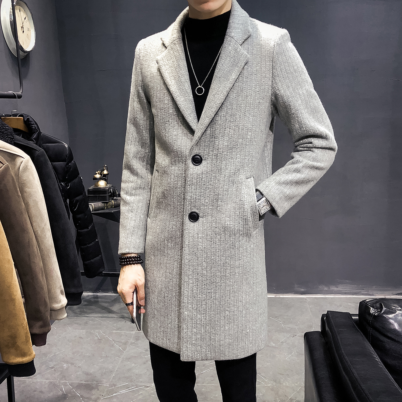 Sky Blue Lange Trenchcoats Mens Fashion 2019 Winter Wollen Jas Heren Vintage Lange Jassen Heren Steampunk Slim Fit Grijs jassen Retro - 3