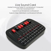 Universal Live Sound Card Live broadcast KTV Karaoke Live BT Volume Adjustable USB External Audio Mixer Sound Card Studio Double(China)