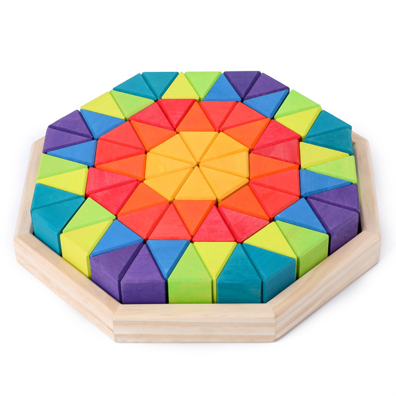 Birch Big Triangle Children Build Toys Boxed Building Blocks 12 Color Stacked Children's Imagination Early Teaching Toys - 5
