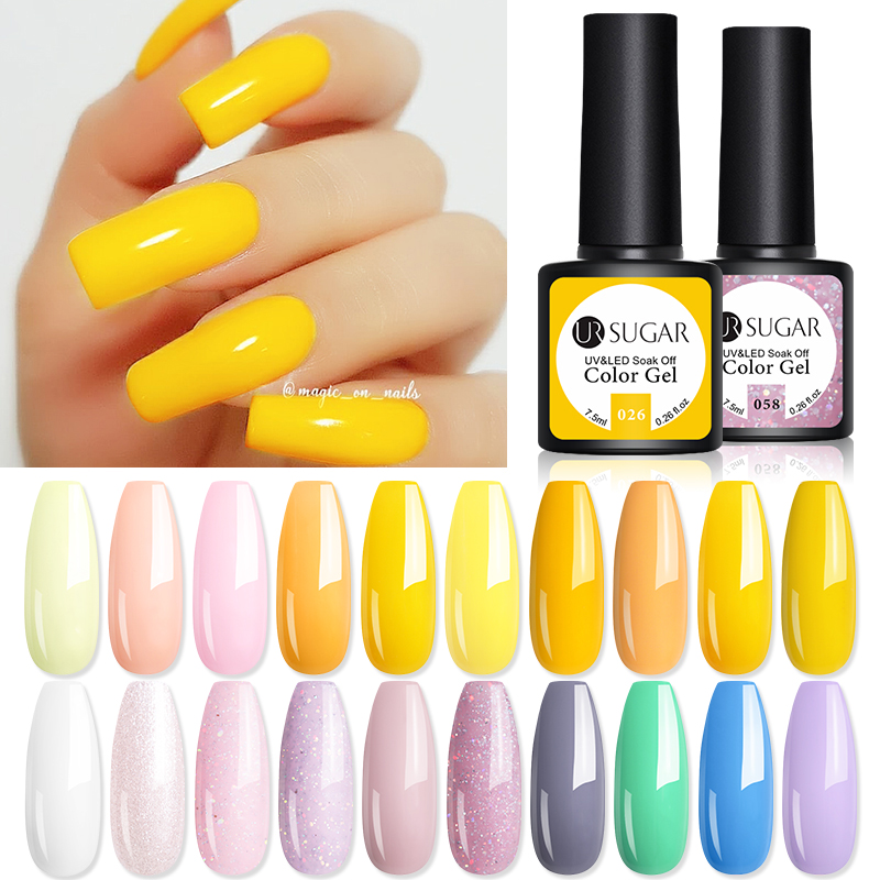 UR SUGAR 7.5ml Yellow Nail Color Gel Polish Soak Off UV Gel Lacquers Varnish Colorful  Yellow Red Gel Semi-Permanent Varnish