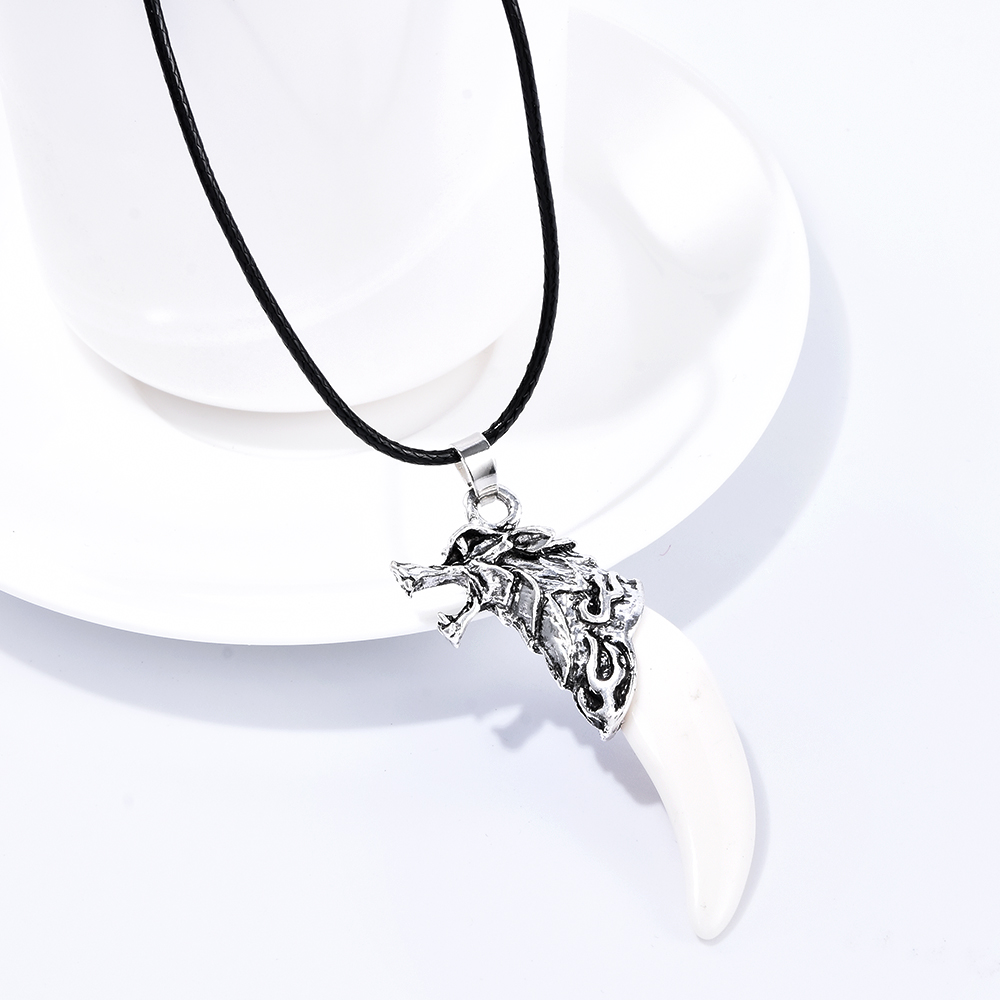 Fashion Men's Retro Stainless Steel Titanium Real Wolf Tooth Pendant Necklace P1029