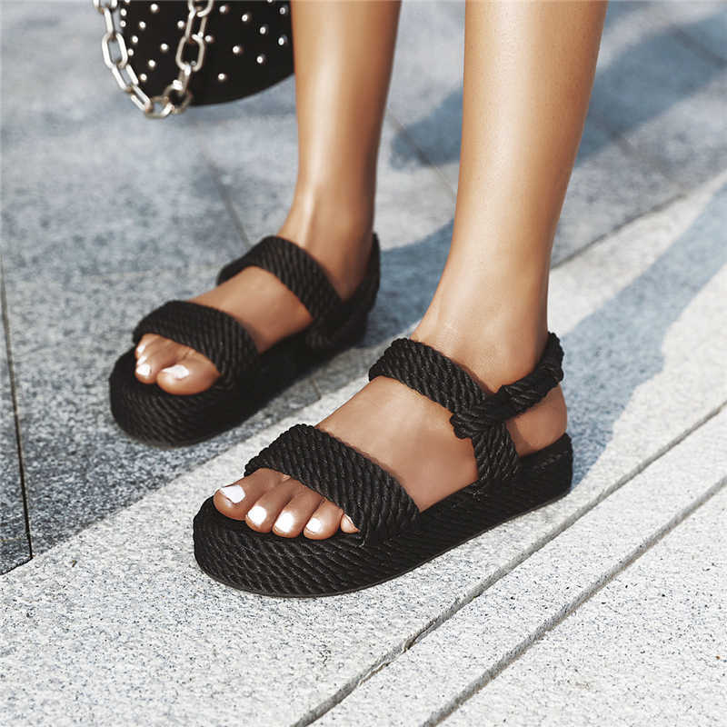 Lucyever 2020 Donne di Estate Gladiatore Sandali Scarpe Da Spiaggia Femminili Cuneo Scarpe Falts Sandali Comodi Della Piattaforma Sandalia Feminina