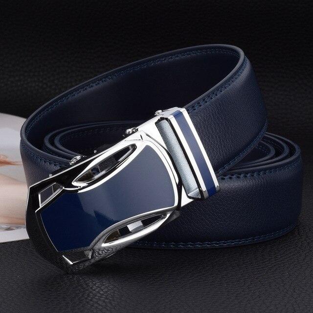 Wowtiger Blauw Lederen Heren Riem Hoge Kwaliteit Legering Automatische Gesp Riemen Voor Mannen 3.5Cm Breedte Verstelbare Luxe Merk band