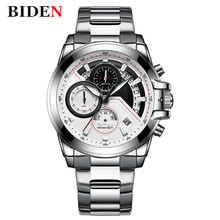 Men Watch Relogio Luxo BIDEN Quartz Watch Stainless Steel Links Sport Watch for Men Gifts Unique Date Display Top Brand Clock цена и фото