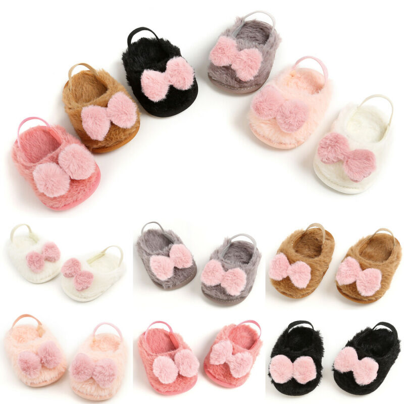 Newborn Toddler Baby Boys Girl Infant Cute Faux Bow Soft Crib Warm Shoes Sandals & Clogs