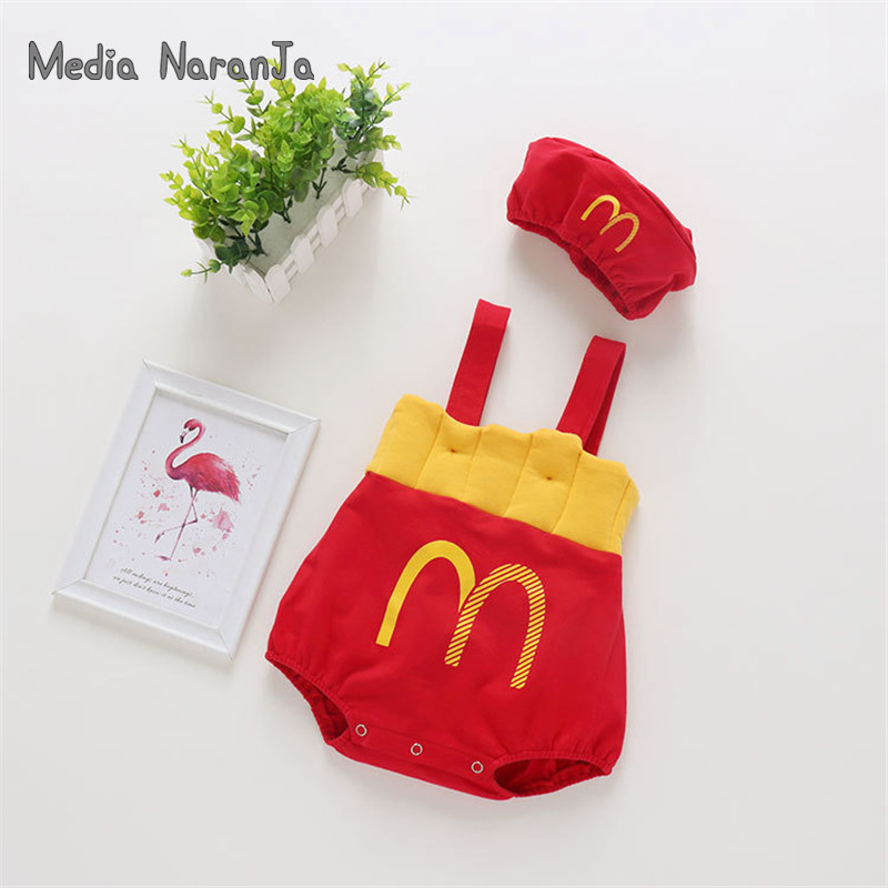 Ins Autumn Infant Jumpsuit Boy Girl Baby Fries Straps Bodysuit+hat Toddler McDonald Costume Funny Photography Clothes