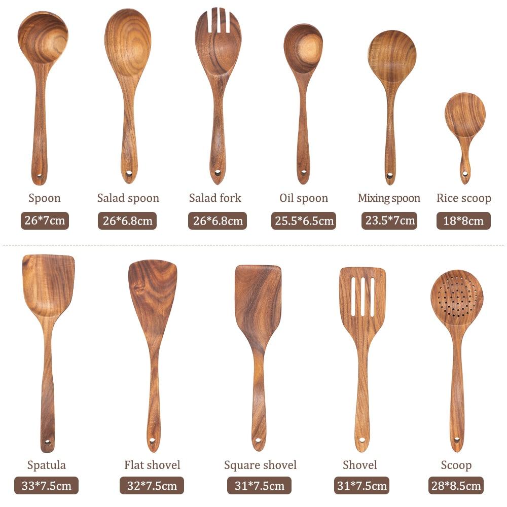 11pcs Wooden Kitchen Utensils Set Cooking Spatula Tools Kit Healthy Turners Spoon Baking Kitchenware ustensile de