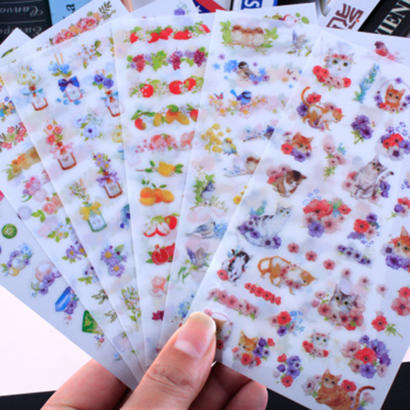 6pcs/lot Cute Unicorn Stickers Kawaii Cartoon Cat Sticky Paper Stickers For Kids Gift Diy Scrapbooking Diary Ablum Stationery