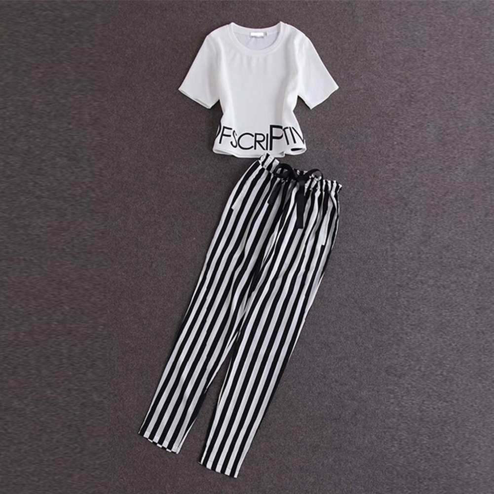 Women Short Sleeves Letter Print Short Top And Stripe Drawstring Pants Summer Women Clothing