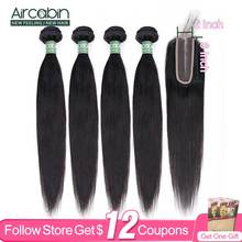 Hair-Bundles Closure Human-Hair Aircabin Straight Brazilian Natural-Color with 2x6 Lace