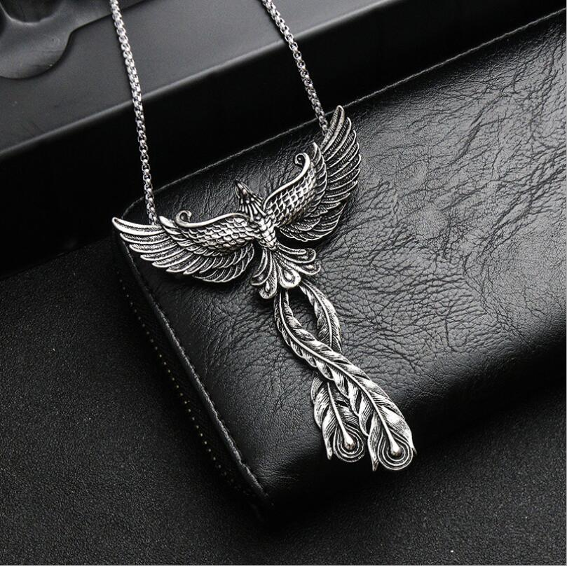 Domineering Personality Phoenix Pendant Gothic Vintage Pendant Necklace Punk Peacock Pendant Halloween Christmas Gifts + chain