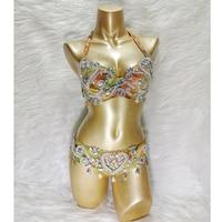 New women's belly dance costume set showgirl belly dancing clothes halloween bellydance Clothes Beaded Top&belt Carnival 2pcs