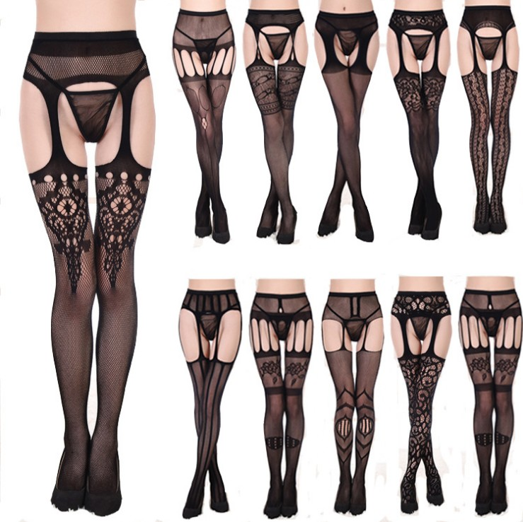 Women's Sexy Suspenders Open Crotch High Waisted Net Crotchless Pantyhose Garter Seamless Fishnet Panty Plus Size Tights