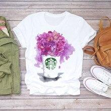 Floral Flower T-shirt Ladies Womens Graphic Harajuku Summer Short Sleeve T Shirt Female Print Streetwear Top Tee Female Clothes