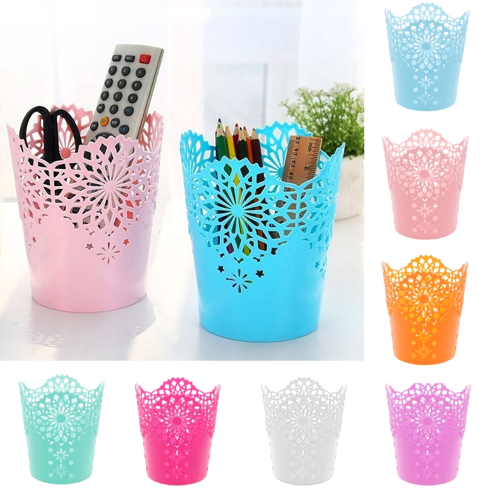 1PC Multifunctional Flower Plant Pot Makeup Brush Storage Boxes Pen Pencil Pot Holder Container Office Desk Storage Organizer