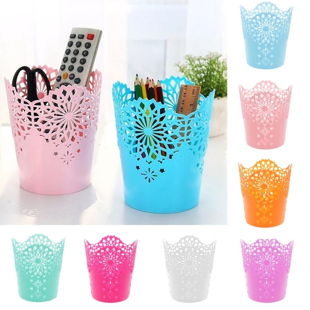 1PC Multifunctional Flower Plant Pot Makeup Brush Storage Boxes Pen Pencil Pot Holder Container Office Desk Storage Organizer