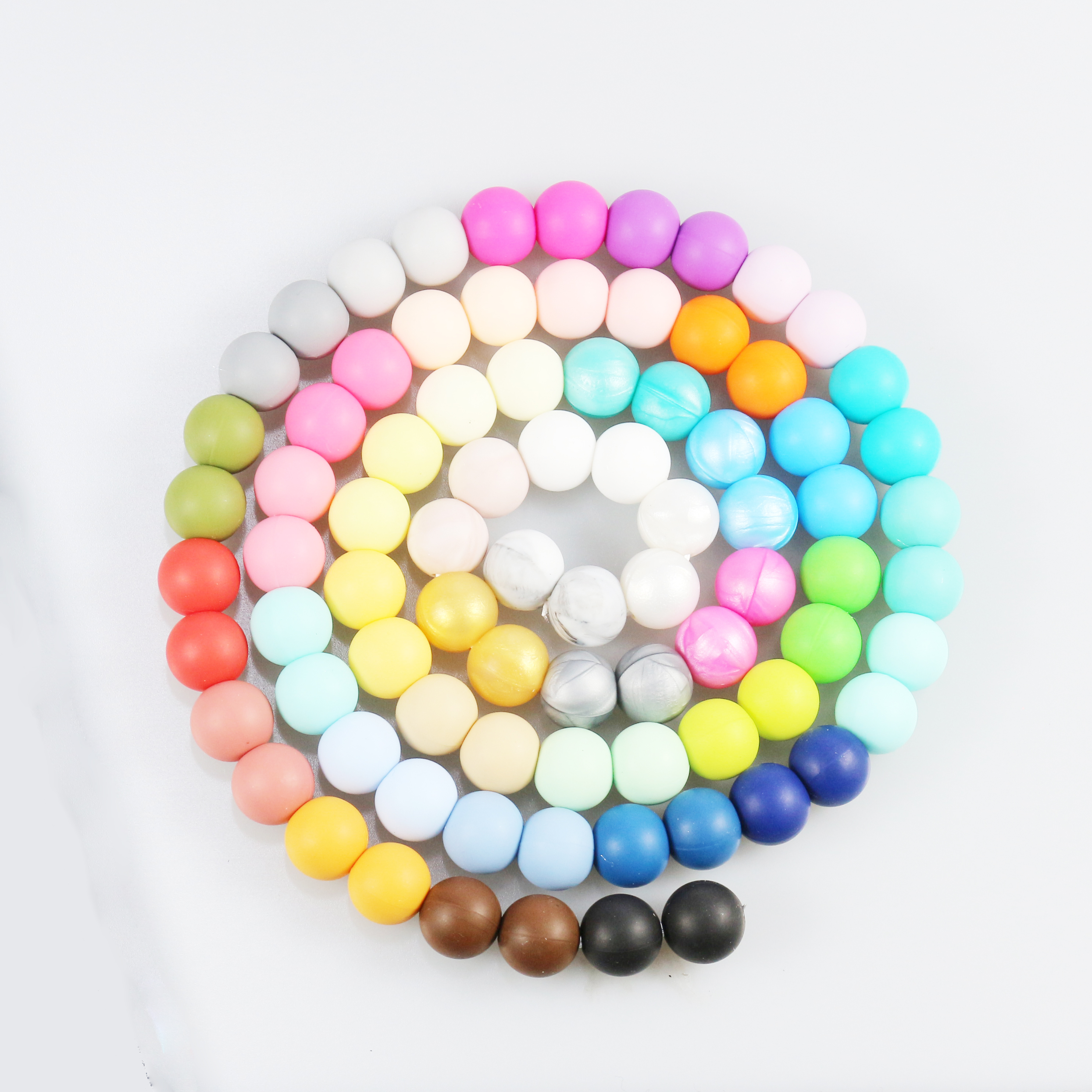 Fashion DIY Teething necklace 1000PCS 10MM Silicone beads  DIY Food grade Silicone DIY Beads Teethers 40 colors