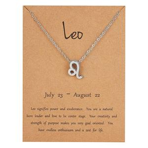 Hot Zodiac Sign Necklaces Silver Color Horoscope Zodiac Pendant Choker Necklace For Women Fashion 12 Constellations Jewelry Gift
