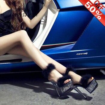 Feather Model Platform high heel female summer fine heel 15cm sandals show thick bottom fun hosting crystal Sandals Pink
