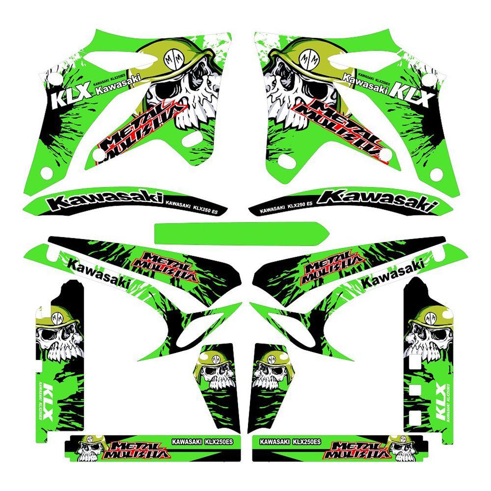 For Kawasaki D-TRACKER KLX250 2004 2005 2006 2007 Green Skull Full Graphics Decals Stickers Custom Number Name 3M Matte