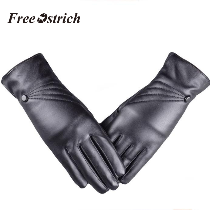 Free Ostrich Elegant Lady Driving Gloves Leather Winter Warm Mittens Women's Full Finger Motocycle Ski Gloves Tactical 91031