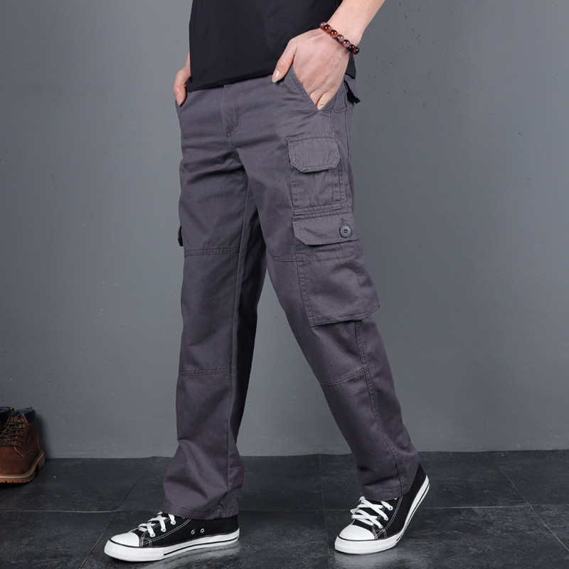 ICPANS 2020 Tactical Pants Pockets Loose Cotton Denim Ix9 Army Cargo Pants Men Streetwear Casual Trousers Military Style