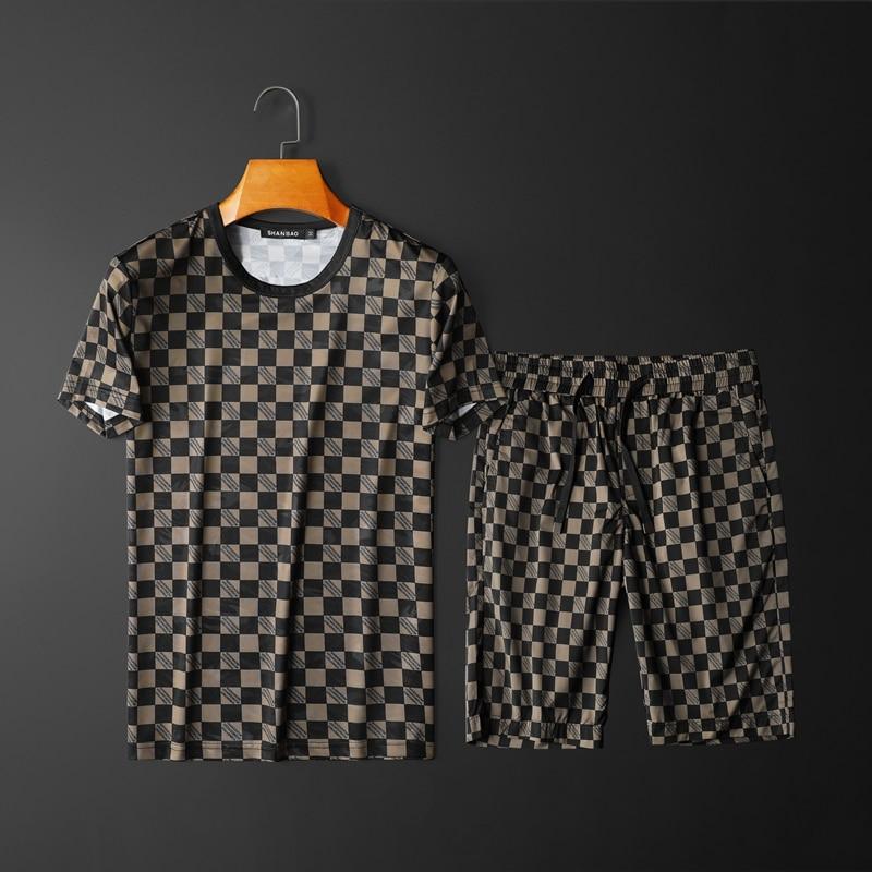 Men Sets 2020 New Summer Fashion  Casual Short Sleeve Shorts Two piece Set Plaid Slim Men Set Men