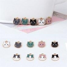 2019 korean cute earrings alloy drops oil pendant cartoon cat drop for women material diy jewelry accessories