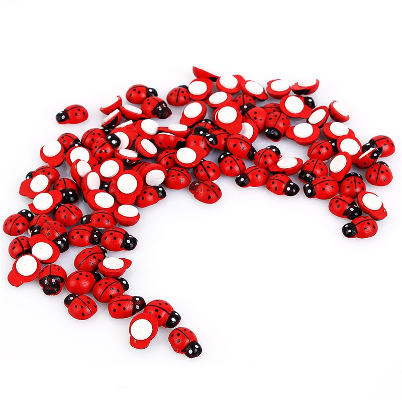 100pcs/pack Mini Wooden Ladybug Sponge Stickers Mini Fridge Magnets Micro Landscape Decor For Scrapbooking 1.4*0.9cm