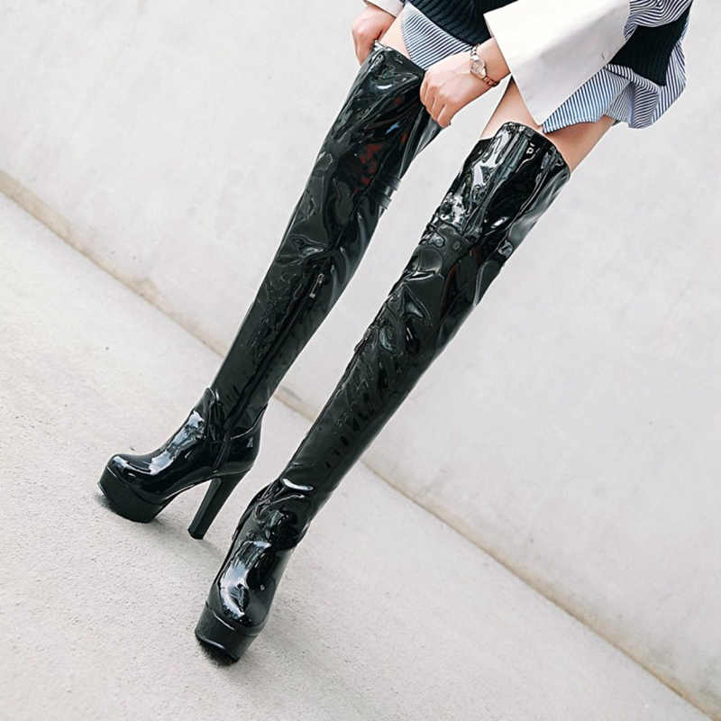 Ladies Women Platform Punk Thigh High Over Knee Boots Block Heel Round Toe Shoes