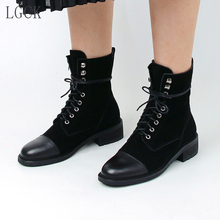 Plus Size 34-43 Genuine Leather Women Shoes New Lace Up Low Heeled Ankle Boots Fashion Classic Punk Martin Boots Square Heel цена и фото