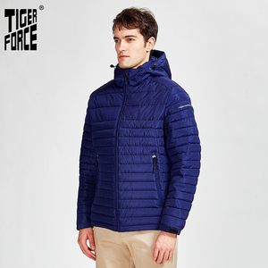 Image 2 - Tiger Force 2020 new arrival men striped jackets with pockets high quality removing hood warm coat outerwear zipper Parkas 50629