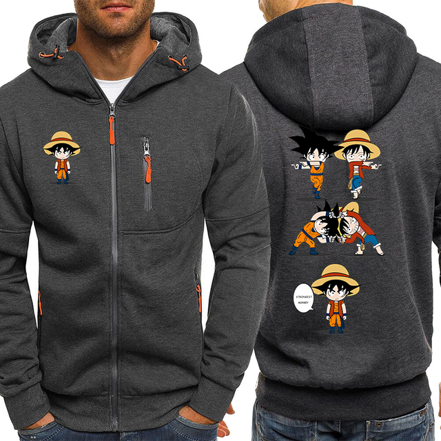 Luffy Funny Hoodies Men Casual Jacket Japanese Anime Dragon Ball Z Mens Sweatshirt One Piece Hoodie Male 2019 Coats Tracksuits