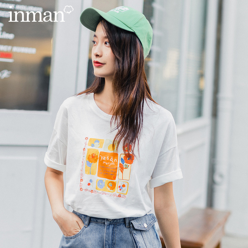INMAN 2020 New Arrival O-neck Loose All-match PrintEmbroidered Funny Korean Style T-shirt