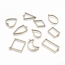 Hot 10pcs Brand New Alloy Geometric Shape Metal Frame DIY Epoxy Resin UV Crystal Silicone Molds for DIY Epoxy Resin