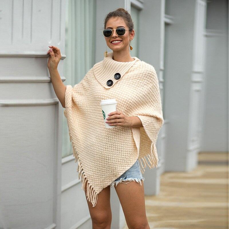 ZADORIN 2019 New Tops Korean Style Women Winter Furry Soft Loose Casual Tassel Cape Overcoat Knitted Sweater Harajuku Female window valance