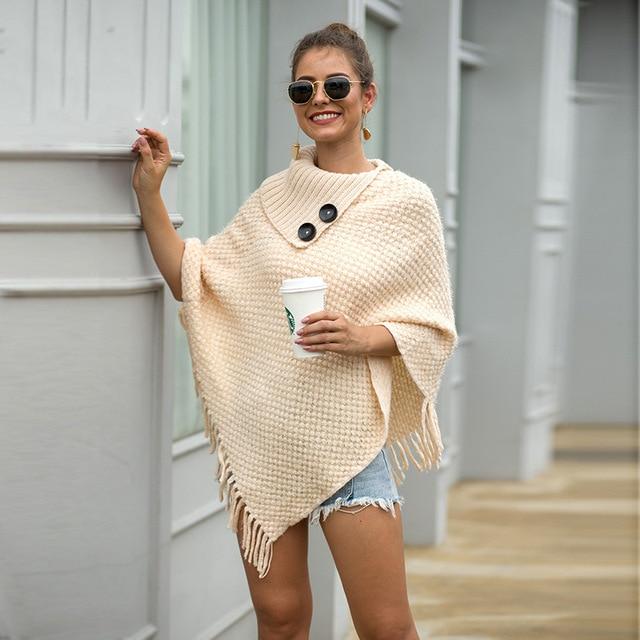 Korean Style Women Winter Furry Soft Loose Casual Tassel Cape Overcoat Knitted Sweater 1