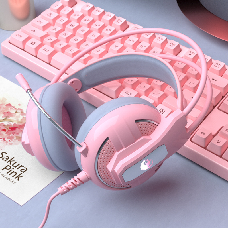 Yulass Gaming Headphones Wired Girl Pink Stereo Large Headphone Noise Canceling Headphone With microphone
