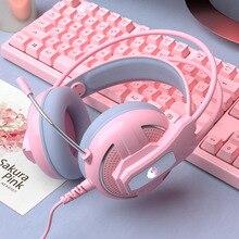 Yulass casque de jeu filaire fille rose stéréo grand casque antibruit casque avec microphone