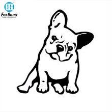 الفرنسية البلدغ الكلب ملصق حائط من الفينيل نافذة الديكور جميل الحيوان سيارة ملصق أسود/فضي # B1103