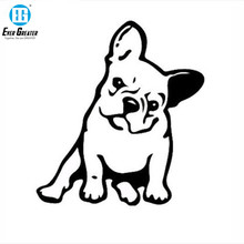 Etiqueta de vinilo de perro BULLDOG francés, decoración de ventana, pegatina de coche Animal encantador negro/plata # B1103
