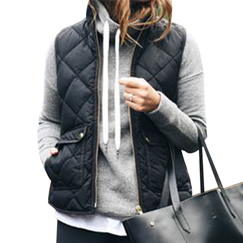 Slim Down Cotton Women's Jacket Sleeveless Puffer Vest Waistcoat Winter Coat