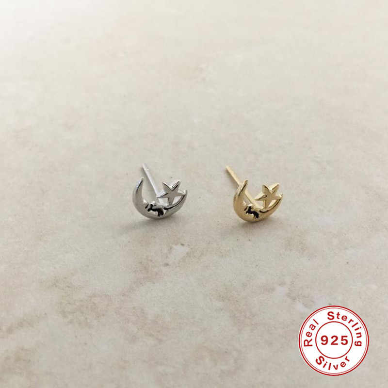 אמיתי 925 כסף עגילים לנשים כוכב ירח עגילי ילדה מתנה סחוס אוזן פירסינג עגילי נקבה Stud aretes R5