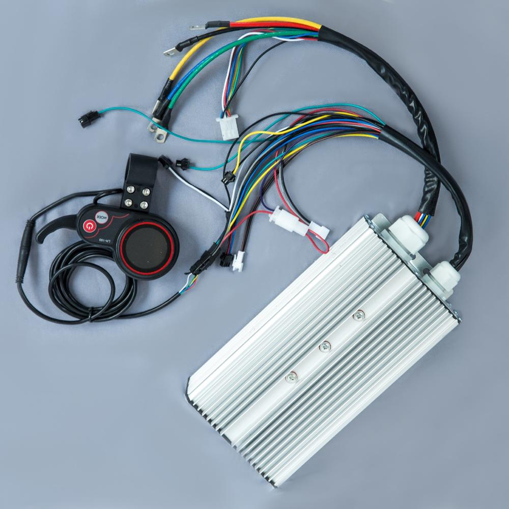 E bike  Scooter Motor Driver 60v 1500w 1600w 24 MOS 50A BLDC Hub Motor Controller with Colorful Thumb Throttle  LED display|Electric Bicycle Accessories| |  - title=